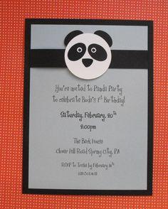 panda birthday invitation - put around bamboo stick