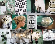 Mint green and black wedding