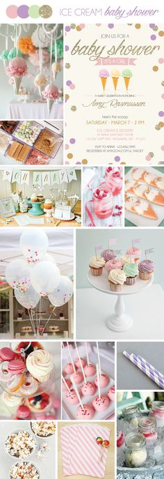 Ice Cream Baby Shower Theme - pastels & gold sparkles