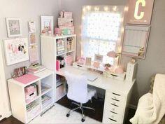 Home office furniture ikea diy desk 36 ideas Craft Room Closet, Craft Room Desk, Home Office Closet, Diy Office Desk, Home Office Furniture Desk, Home Office Organization, Furniture Layout, Home Decor Furniture, Office Decor