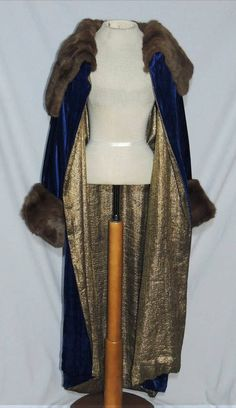 """1920-30's Silk Velvet Opera Coat with Sable? Fur and Metallic Gold Lame Lining"" via eBay (sold item), front view with gold lame lining visible - the coat is not reversible, it really is only lining (how stupid to waste it into a mere lining, huh!)"