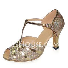 Dance Shoes - $65.99 - Women's Sparkling Glitter Patent Leather Heels Sandals Latin With T-Strap Dance Shoes (053022340) http://jjshouse.com/Women-S-Sparkling-Glitter-Patent-Leather-Heels-Sandals-Latin-With-T-Strap-Dance-Shoes-053022340-g22340
