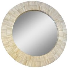 Bone Veneer Round Mirror (1.855 BRL) ❤ liked on Polyvore featuring home, home decor, mirrors, wood home decor, wooden mirror, round wooden mirror, antique white mirror and round mirror