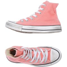 Converse Limited Edition High-tops & Trainers ($80) ❤ liked on Polyvore featuring shoes, sneakers, salmon pink, round cap, round toe shoes, converse trainers, converse shoes and pink high top sneakers