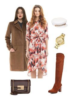 Karl #Lagerfeld #watch, #Libellulas #dress and #coat, Betsy #boots, #MichaelKors #bag, #EugeniaKim #hat