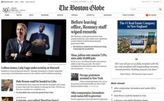 10 Beautifully Executed Font Combinations For The Web by Stephanie Hamilton 7. Boston Globe.com: Old English typeface nameplate  Also called Fraktur, black letter, fonts still commonly used in newspapers and accompanying websites. Rest of site-cutting edge, modern. Font sizes, column widths, navigation, informed by best digital media practices. For growing mobile landscape, Boston Globe reformats layout and type to fit all media tech. Fonts: Miller Headline, Benton Sans, Georgia, Helvetica