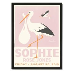 Stork Personalized Wall Art (Pink with Black Frame)  | The Land of Nod