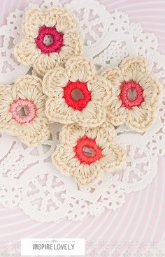 (no pattern) Cute flowers. I'm thinking if you sewed the edges you would have a nice doily.