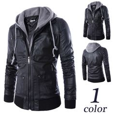Motorcycle hooded leather jacket