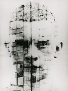 Hajo Rose -Self portrait collage with the Bahaus Dessau facade, 1930