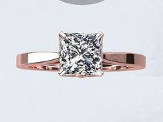 Princess Cut Natural White Topaz 1.25ct 14kt Rose Gold Engagement Ring