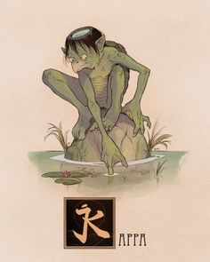 """Name: Kappa Area of Origin: Japan Literally translated as """"River Child"""" a Kappa is a Yokai found in traditional Japanese folklore. The creatures are generally depicted as roughly humanoid in shape, and childlike in size and stature. It's scaly skin. Japanese Mythical Creatures, Mythological Creatures, Magical Creatures, Fantasy Creatures, Kappa Japanese, Kappa Monster, Japanese Yokai, Japanese Mythology, Greek Mythology"""