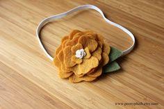 Goldenrod peony skinny headband for babies and women