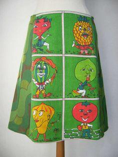 Daft Veggies Skirt vintage tea towel A-line skirt by LUREaLURE