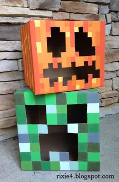 My son would love her. The life and times of Rixie the Minecraft Pumpkin - Kids' Crafts for Diy and Crafts Creeper Minecraft, Minecraft Party, Minecraft Halloween Ideas, Minecraft Heads, Minecraft Costumes, Minecraft Crafts, Minecraft Skins, Minecraft Buildings, Minecraft Room