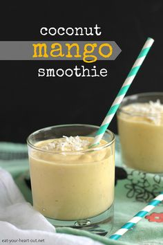 This rich, creamy smoothie is packed full of summery mango, banana, and coconut milk and will have you thinking you're on a tropical island – the perfect mid-March fantasy.