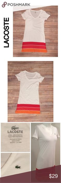 Lacoste Size 40 Women's 100% Cotton Tennis Dress Lacoste Size 40 Women's 100% Cotton Tennis Dress Short Sleeve White Pink Orange Stripe   No stains Small pin hole on back of neck at seam -shown in photo Lacoste Skirts