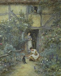 The Saucer of Milk by Helen Allingham ....
