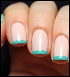 Rose Quartz Nails With Turquoise Tip Easy Nail Art | Source: Unknown