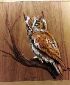 Owl Painting on Pine Wood by OnyxArtStudios