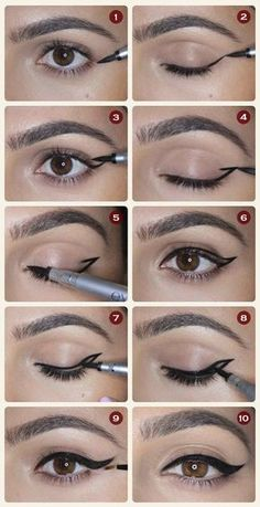 Winged Eyeliner – 12 Different Eyeliner Tutorials You'll Be Thankful For | Makeup Tips & Tricks at http://makeuptutorials.com/12-different-eyeliner-tutorials-youll-thankful/