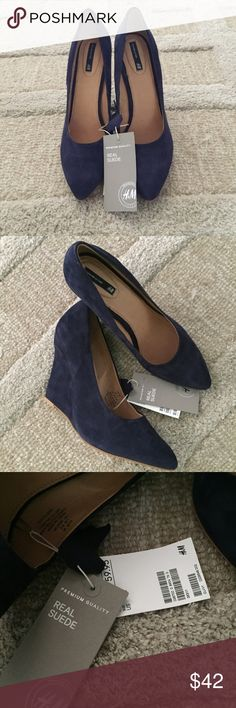 Suede Wedge Heels Never worn H&M wedge heels in navy blue. Real suede with original tags H&M Shoes