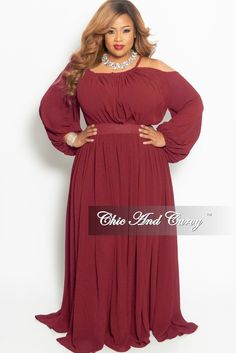 a6a3baf9082 Plus Size One Sided Cold Shoulder Long Chiffon Dress in Burgundy – Chic And Curvy  Chic