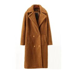 Camel Lapel Double Breasted Long Coat (565 HKD) ❤ liked on Polyvore featuring outerwear, coats, camel, leather-sleeve coats, camel coat, long sleeve coat, brown coat and double-breasted coat