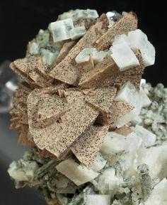 Helvine-Genthelvite, Quartz and Calcite - Huanggang Mines, Inner Mongolia Autonomous Region China