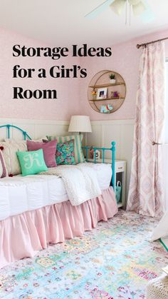 Teen Bedroom, Home Bedroom, Bedroom Decor, Tween Girls Bedroom Ideas, Small Girls Bedrooms, Little Girl Rooms, Bedroom Wall Colors, Room Inspiration, Storage Ideas