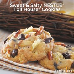 Pretzel and potato chip pieces get added to the classic Nestlé® Toll House® Chocolate Chip #Cookie recipe for a sweet and salty treat! What's your favorite sweet and salty combo? (Sweet & Salty Nestlé Toll House Cookies) http://allrecipes.com/recipe/sweet-and-salty-toll-house-cookies/detail.aspx?lnkid=7172
