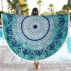 2016 New Summer Large Round with tessel Circle Beach Towel Serviette De Plage Reactive Printing Cloth Yoga Mat hot sale