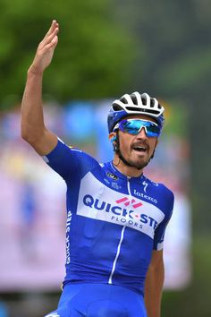 Arrival / Julian Alaphilippe of France and Team QuickStep Floors / Celebration / during the 70th Criterium du Dauphine 2018 Stage 4 a 181km stage...
