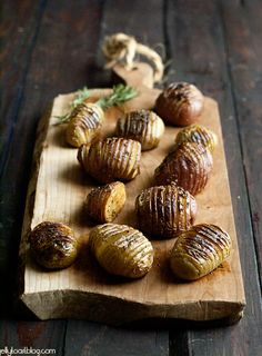 rosemary accordion potatoes. I've had rosemary potatoes twice in Italian restaurants and I had to get a recipe to make them for myself at home! the accordion look just ups the fancy level a little :)