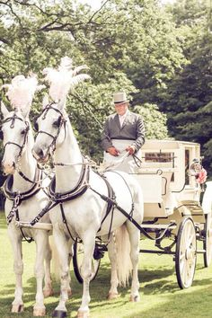 My wedding #vintage #gibside chapel #horse and carriage