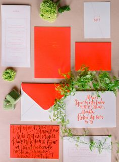 Neon orange invitation suite invites details Neon Meets Classic in this Spring Inspiration from Russia Budget Wedding Invitations, Pocket Wedding Invitations, Wedding Stationery, Modern Invitations, Wedding Paper, Red Wedding, Wedding Shoes, Restaurant Wedding, Neon