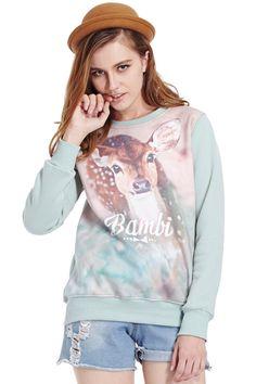 ROMWE   Bambi Print Green Sweatshirt, The Latest Street Fashion