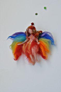 Needle Felted  Waldorf FairyRainbow Fairyneedle by darialvovsky, $46.00
