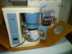 NOS Proctor Silex Automatic 12cup Drip Coffee Make Country Blue Goose Design USA #ProctorSilex