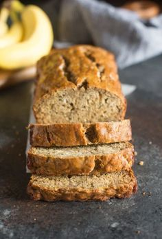My favorite Skinny Banana Bread recipe has no oil, is low sugar, and just over 100 calories/slice! It's the BEST healthy banana bread recipe to still yield incredibly moist, perfectly sweet, and delicious bread! Healthy Banana Pudding, Banana Bread Recipes, Banana Bread Healthy Yogurt, Banana Bread Healthy Clean Eating, Banana Bread Coconut Oil, Clean Banana Bread, Protein Banana Bread, Healthy Baking, Healthy Snacks