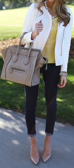 How do I begin with this look? It's head to toe perfect! The bag is adorable. I have a weakness for Céline. Whoops :) Anyways, her top is a nice pop of color for the rest of the outfit. All in all, it's fabulous.