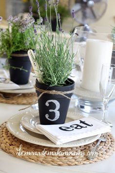 Chalkboard flower pots, herbs, and twine.
