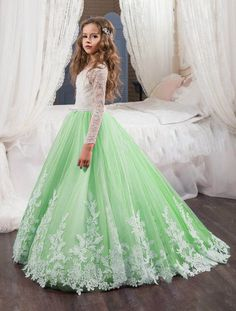 Applique Flower Girl Dresses Lace Princess Pageant Dresses Kids  Wedding  Bridesmaid Dresses Birthday Ball Gowns Green 3b4988edb700