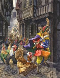 The Pied Piper by Chris Dunn - Illustration/Fine Art: Gallery Chris Dunn, Chicken Art, Gnome, Fairytale Art, Fantastic Art, Children's Book Illustration, Book Illustrations, Fairy Tales, Book Art