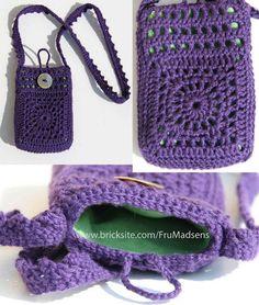 Crocheted mobile bag lined with velvet...