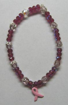 Items similar to Pink Ribbon Bracelet with Raspberry Beads on Etsy Pretty In Pink, Swarovski Crystals, Raspberry, Ribbon, Gemstones, Jewellery, Beads, Bracelets, Handmade