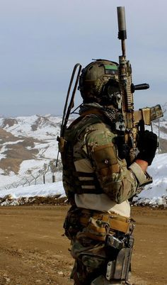 There is a parachute on his patch and I'm pretty sure this is Afganistan. No info came with this photo.