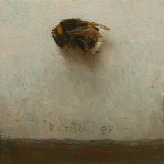 "Stijn Rietman - ""Hommel"" (Bumblebee) 2009 oil on masonite 8x8cm"