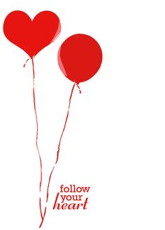 Inspirational typography Red balloons heart by DawnSmithDesigns. , via Etsy.