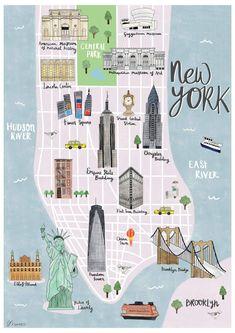 New York map illustrated print - Sarah Frances – Mapsy - Cestování - Art New York City Vacation, New York City Map, New York City Travel, New York Art, City Maps, Trips To New York, Map Of Nyc, New York Shopping, Ny Map